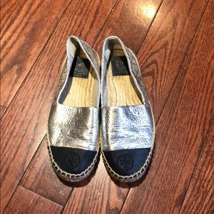 Navy silver espadrille flats Tory Burch 6.5